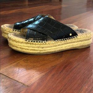 Black snakeskin leather espadrilles- Sam Edelman